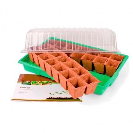 Invernadero con semillero biodegradable prop42