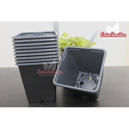 Maceta cuadrada negra 9x9x10 (0,52L) - Pack